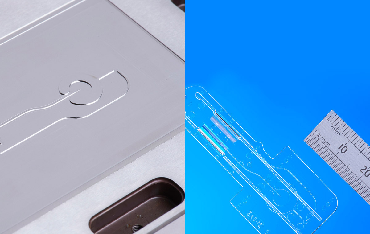 Micro Fluidic Machining - Fully hardened 50 Rc Injection Mould Insert and Microfluidic COC Injection Moulding - Blood Analysis